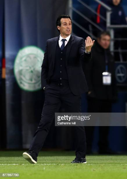 Unai Emery manager of Paris St Germain during the UEFA Champions League group B match between Paris SaintGermain and Celtic FC at Parc des Princes on...
