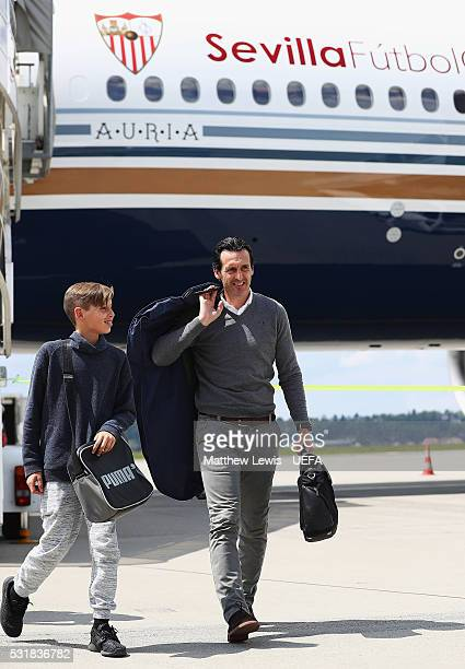 Unai Emery manager of Sevilla arrives at Basel Airport ahead of the UEFA Europa League Final on May 17 2016 in Basel BaselStadt