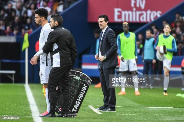 Unai Emery of PSG during the Ligue 1 match between Paris Saint Germain and Metz at Parc des Princes on March 10 2018 in Paris