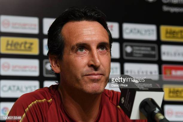 Unai Emery the Arsenal manager during the Press Conference before the Arsenal Training Session at Singapore American School on July 27 2018 in...