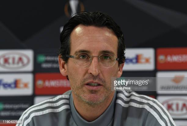 Unai Emery the Arsenal manager speaks during the Arsenal Press Conference at London Colney on November 27, 2019 in St Albans, England.