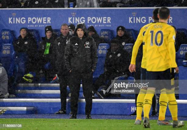 Unai Emery the Arsenal manager watches his team during the Premier League match between Leicester City and Arsenal FC at The King Power Stadium on...