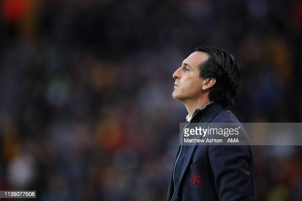Unai Emery the head coach / manager of Arsenal during the Premier League match between Wolverhampton Wanderers and Arsenal FC at Molineux on April 24...