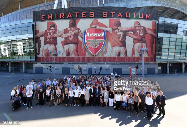 Unai Emery the new Arsenal Head Coach meets the Arsenal Staff at Emirates Stadium on June 27 2018 in London England