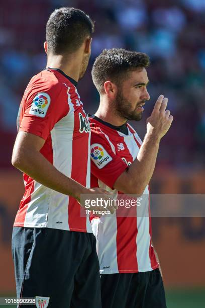 Unai Lopez of Athletic Bilbao celebrates after scoring his team`s first goal with Peru Nolaskoain of Athletic Bilbao during the friendly match...