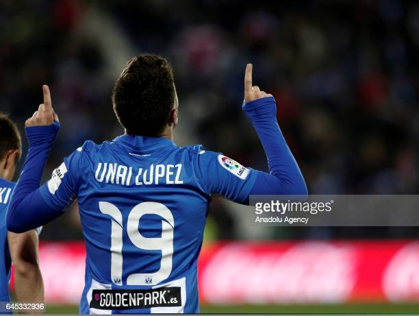 Unai Lopez of Leganes celebrates his score during the La Liga football match between Leganes and Deportivo La Coruna at Estadio Municipal de Butarque...