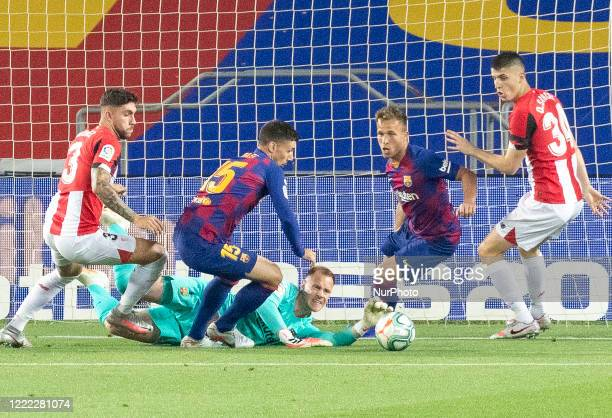 Unai Nunez, Clement Lenglet, Marc Andre Ter Stegen, Arthur Melo and Oihan Sancet during the match between FC Barcelona and Athletic Club Bilbao,...