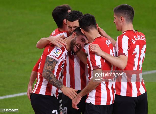 Unai Nunez of Athletic Bilbao celebrates with teammates after scoring their team's second goal during the La Liga Santander match between Athletic...