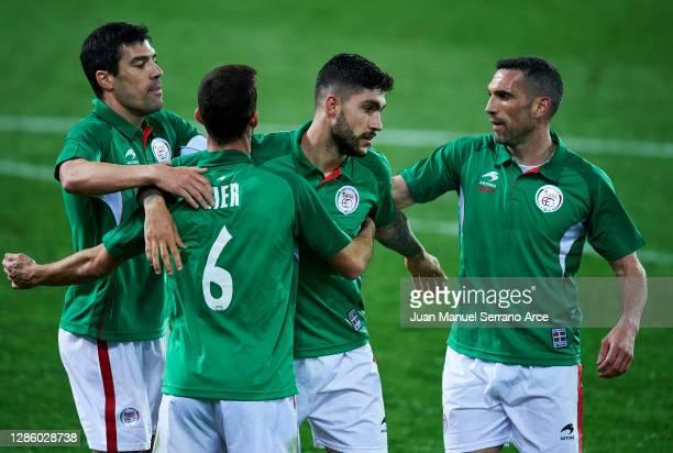 Unai Nunez of Euskadi celebrates after scoring his team's second goal during the International Friendly match between Euskadi and Costa Rica at...