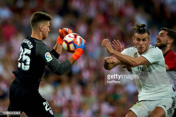 Unai Simon Gareth Bale during the match between Athletic Club against Real Madrid at San Mames Stadium in Bilbao Spain on September 15 2018