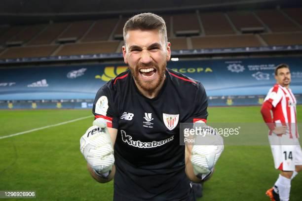 Unai Simon of Athletic Bilbao celebrates victory after the Supercopa de Espana Final match between FC Barcelona and Athletic Club at Estadio de La...