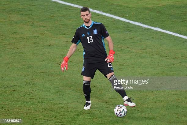 Unai Simon of Spain during the match between Spain and Sweden of Euro 2020, group E, matchday 1, played at La Cartuja Stadium on June 14, 2021 in...