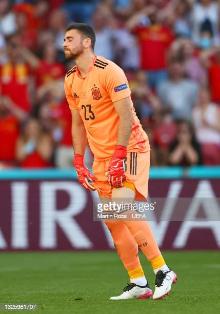 Unai Simon of Spain looks dejected after conceding a goal, an own goal scored by team mate Pedri during the UEFA Euro 2020 Championship Round of 16...