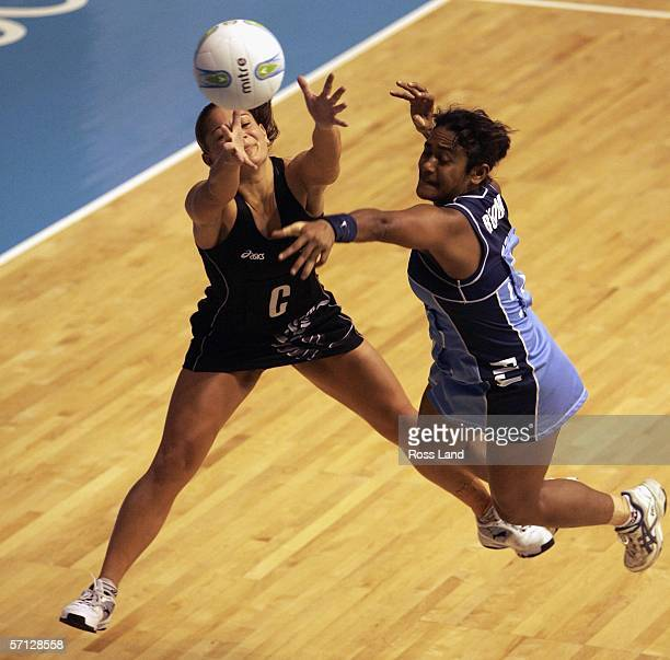 Unaisi Rokoura of Fiji and Temepara George of New Zealand in action during the netball match between New Zealand and Fiji on Day Four of the 18th...