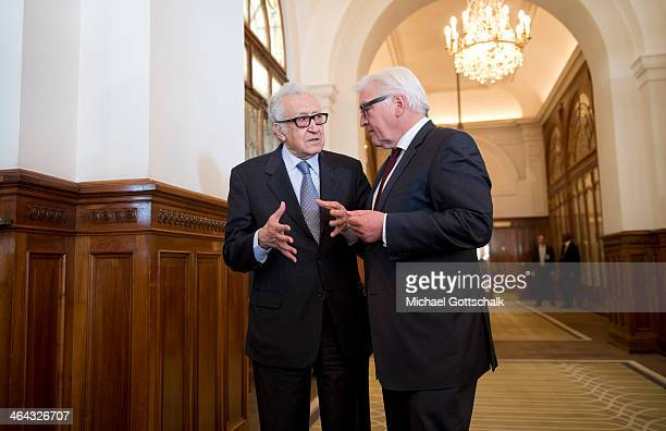 Arab League envoy for Syria Lakhdar Brahimi and German Foreign Minister FrankWalter Steinmeier talk to each other at Geneva II Syria Peace conference...