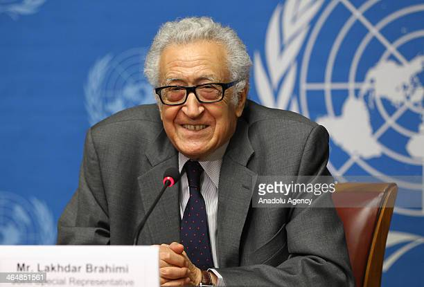 Arab League envoy for Syria Lakhdar Brahimi attends a press conference on Syrian sides negotiations at the United Nations office during Geneva II...