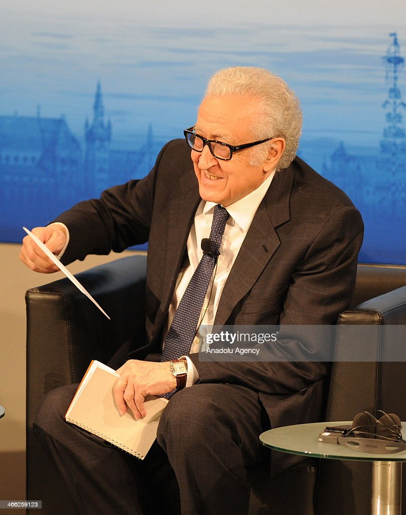 UN-Arab League envoy for Syria Lakhdar Brahimi makes a speech at a panel discussion about 'Syrian Crisis' during the 50th Munich Security Conference on January 31, 2014 in Munich, Germany.