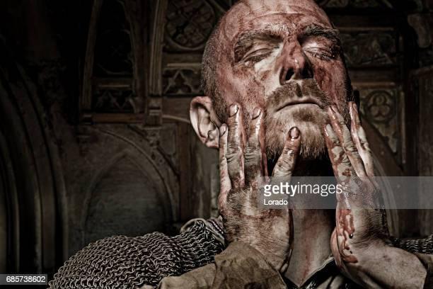 Unarmed bloody viking warrior in emotional pose