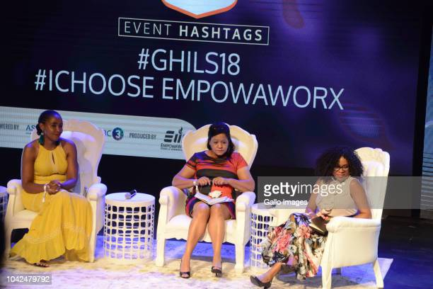 Unathi Mguye Helen Botes and Zandile Nzalo during the Gauteng High Impact Leadership Summit 2018 at Soweto Theatre on September 27 2018 in...