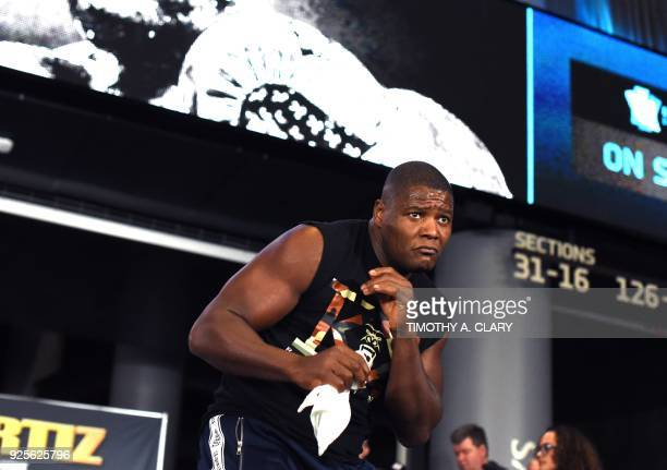 Unbeaten heavyweigh contender Luis Ortiz throws punches during a media workout on February 28 2018 at the Barclays Center Atrium before his upcoming...