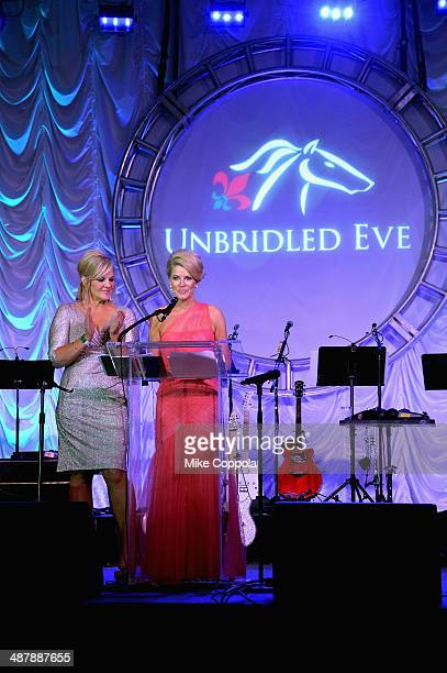Unbridled Eve CoFounders Tammy York Day and Tonya York Dees speak at the 2014 Unbridled Eve Derby Gala during the 140th Kentucky Derby at Galt House...