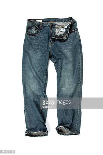 aufgeknöpft blue jeans auf weißem hintergrund - hose stock-fotos und bilder