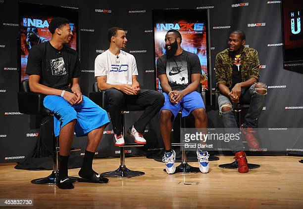 NBA 2K15 Uncensored featured NBA stars Anthony Davis Stephen Curry James Harden and Kevin Durant attend a roundtable discussion at Baruch College on...