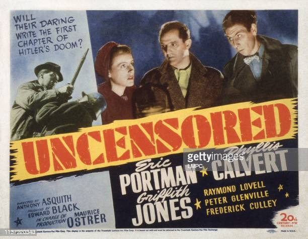 Uncensored US lobbycard from left Phyllis Calvert Eric Portman John Slater 1942
