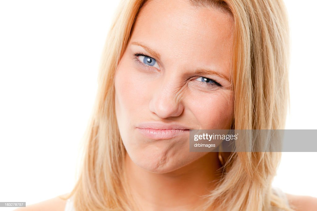 Uncertain Skeptical Young Woman Headshot Portrait : Stock Photo