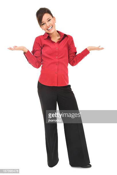 uncertain young businesswoman in red - red pants stock pictures, royalty-free photos & images