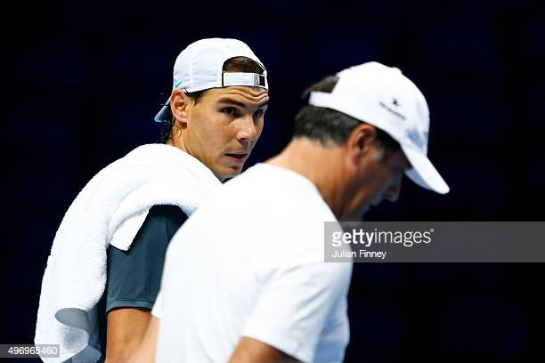 Uncle and coach Toni Nadal with Rafael Nadal of Spain in a practice session during the Barclays ATP World Tour Finals previews at O2 Arena on...