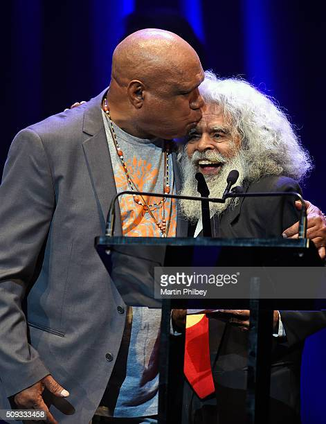 Uncle Jack Charles and Archie Roach on stage at the Age/ Music Victoria Hall of Fame Awards Awards at the Palais Theatre on 20th November 2015 in...