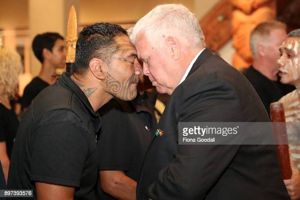 Uncle John Graham of the Yugambeh clan is given a traditonal hongi after the Queens Baton presentation at Auckland War Memorial Museum during the...