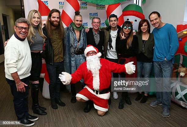 Uncle Johnny Bethany Watson Jack Lawless Cole Whittle Z100 host Elvis Duran Greg T Joe Jonas JinJoo Lee Danielle Monaro and Froggy pose for photos...