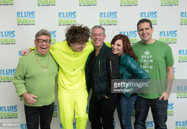 Uncle Johnny Charlie Puth Elvis Duran Danielle Monaro and Skeery Jones pose for a photo at The Elvis Duran Z100 Morning Show at Z100 Studio on March...