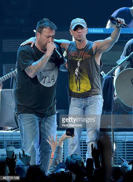 Uncle Kracker and Kenny Chesney perform onstage during Kenny Chesney's The Big Revival 2015 Tour kickoff for a 55 show run through August The...