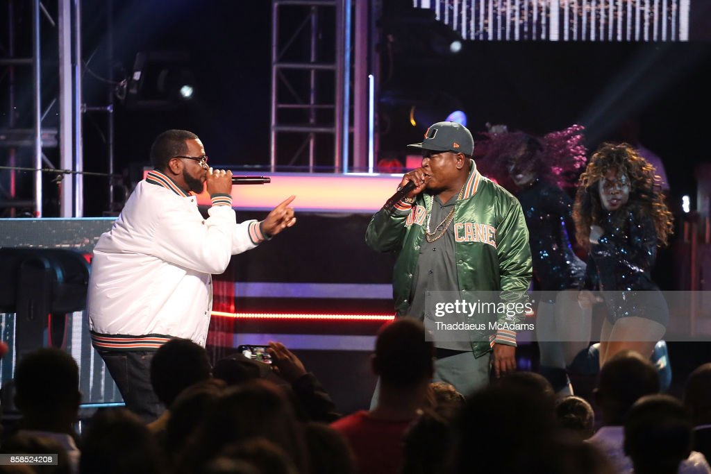 Uncle Luke and Trick Daddy perform onstage at BET Hip Hop Awards 2017 on October 6, 2017 in Miami Beach, Florida.