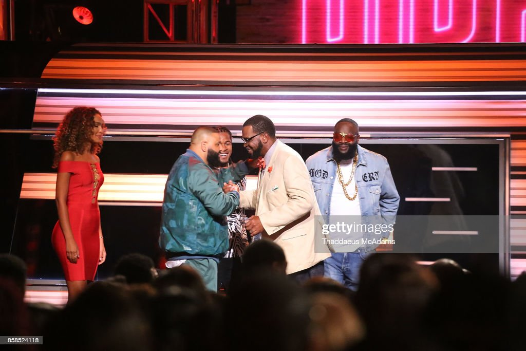 Uncle Luke, Devonta Freeman, DJ Khaled, and Rick Ross on stage at BET Hip Hop Awards 2017 on October 6, 2017 in Miami Beach, Florida.