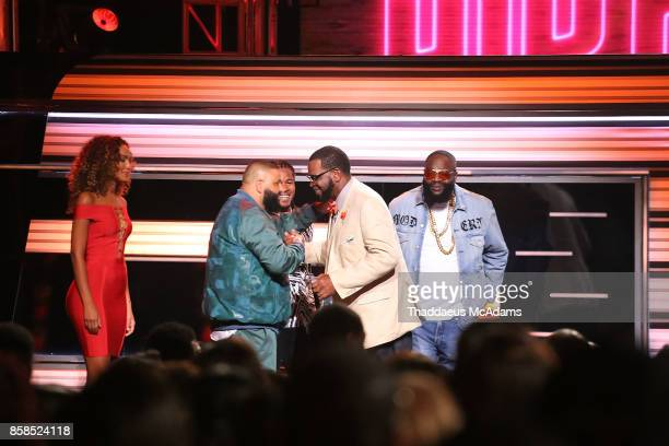 Uncle Luke Devonta Freeman DJ Khaled and Rick Ross on stage at BET Hip Hop Awards 2017 on October 6 2017 in Miami Beach Florida