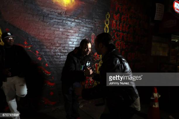 Uncle Murda Bizzy Bone and Alberto Polo Cretara on set at the Bone Thugz N Harmony Changed The Story Video Shoot on April 19 2017 in New York City