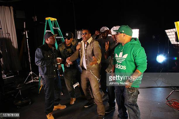 Uncle Murda French Montana Busta Rhymes and Spliff Star are seen on location for French Montana's video shoot on October 1 2011 in Atlanta Georgia