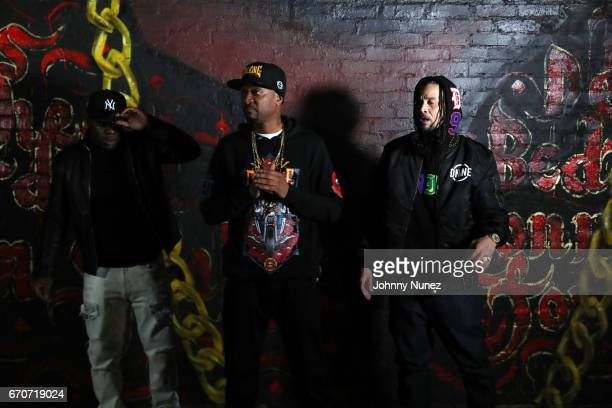 Uncle Murda Krayzie Bone and Bizzy Bone on set at the Bone Thugz N Harmony Changed The Story Video Shoot on April 19 2017 in New York City