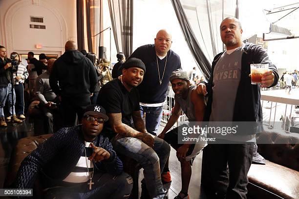 Uncle Murda Maino Shawn 'Pecas Costner Jayvon Smith and Irv 'Gotti' Lorenzo attend Angela Yee's Basketball Birthday Bash at Terminal 23 on January 14...