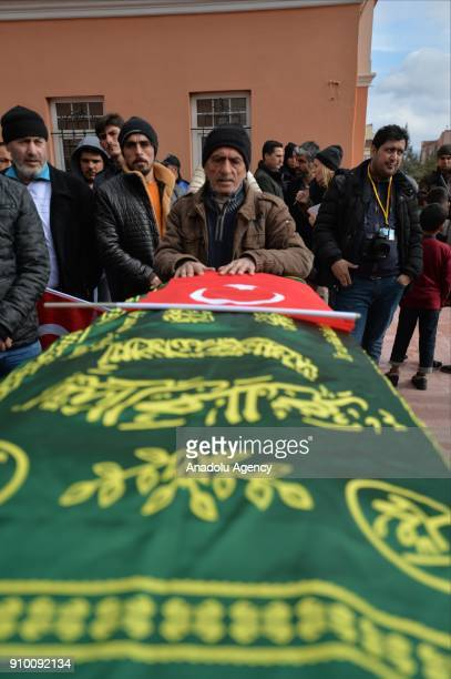 Uncle of Tarik Tabbak Abu Ahmad morns over the coffin of his nephew who lost his life after members of PKK/PYD terrorist organization in Afrin...