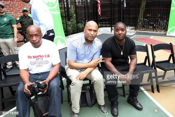 Uncle Ralph McDaniels L Londell McMillan and Lil Cease attend the ribbon cutting ceremony at Crispus Attucks Playground on August 2 2017 in the...
