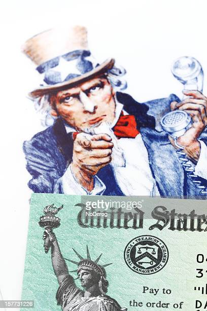 Uncle Sam and IRS check