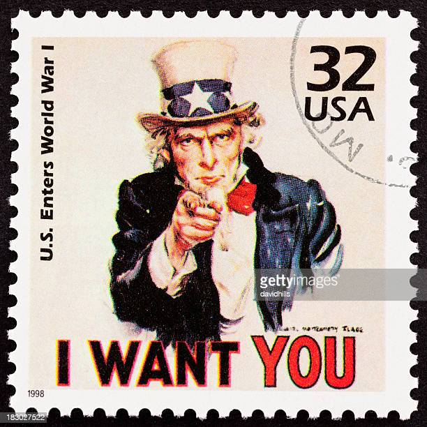 "Uncle Sam ""I want you"" USA postage stamp recruiting"