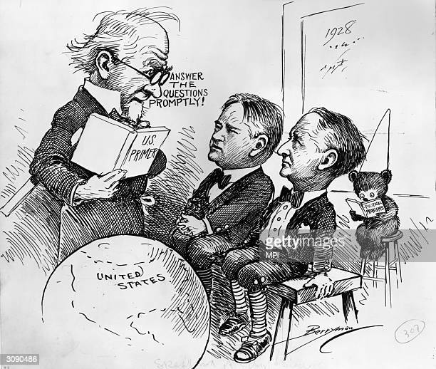 Uncle Sam lecturing the two contenders in the Presidential election, Herbert Hoover and Al Smith , about politics. Cartoon by Clifford K Berryman.