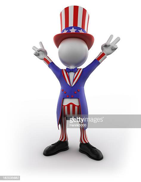 Uncle Sam making victory sign, isolated with clipping path