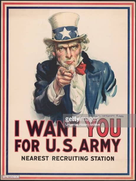Uncle Sam Pointing Finger 'I Want You for US Army' World War I Recruitment Poster by James Montgomery Flagg USA 1917